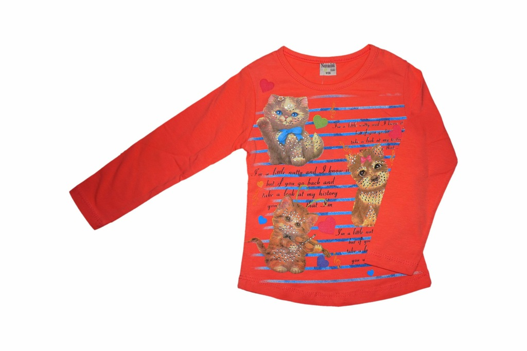 bluzka bluzeczka długi rękaw 86 brzoskwinia cekiny