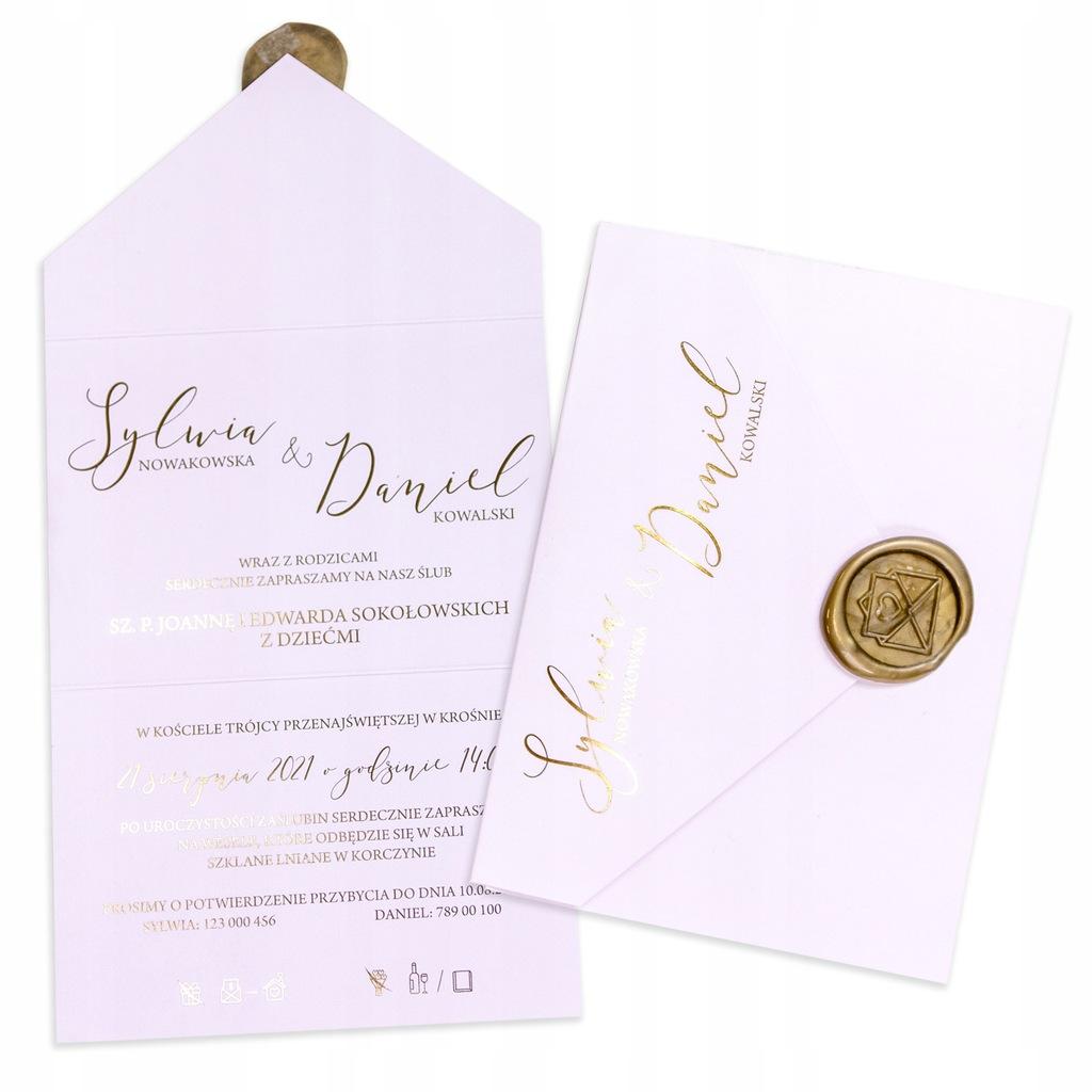 Zaproszenie ślubne na ślub 2w1 Pastel Różowy Lak