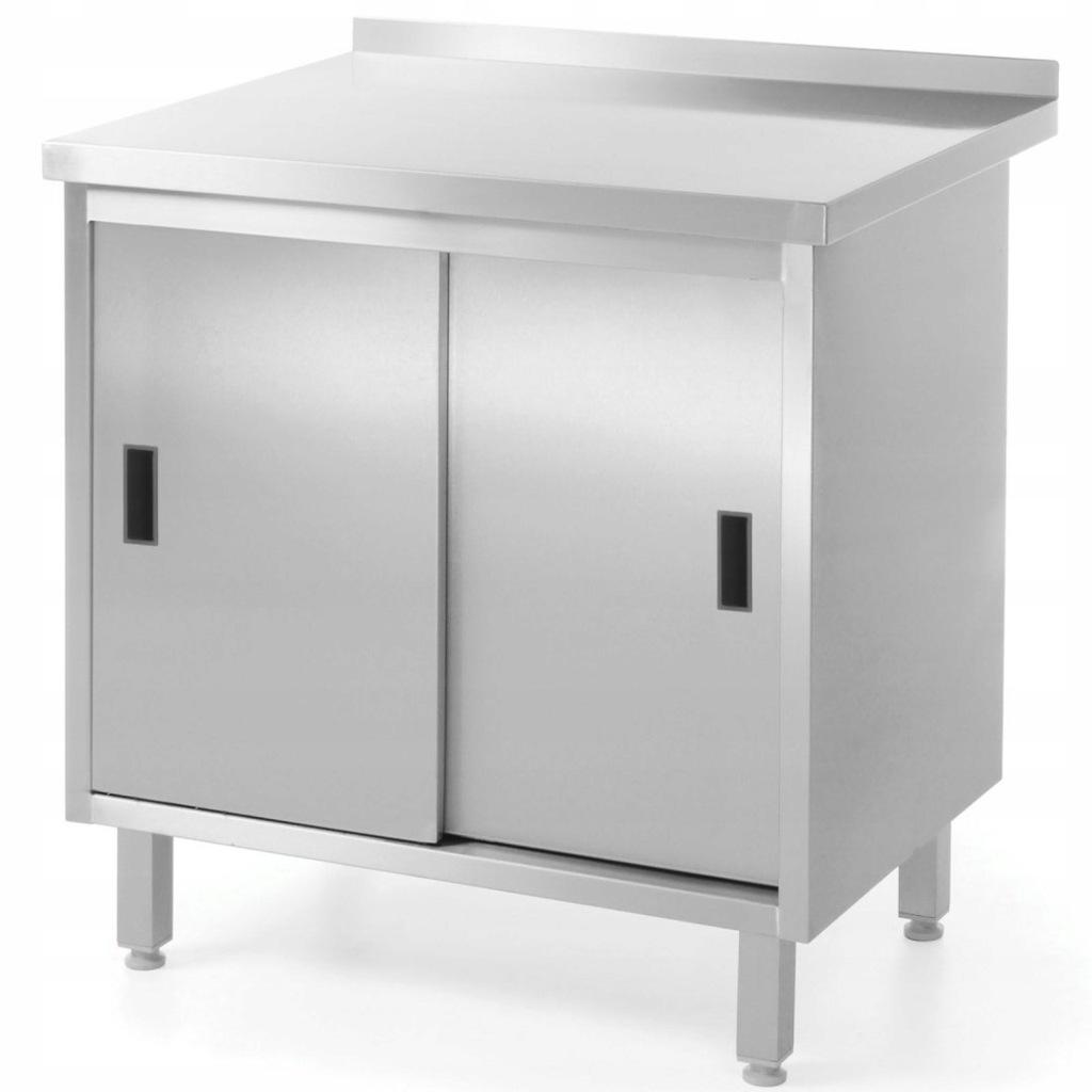 Stół blat roboczy kuchenny z szafką stalowy drzwi