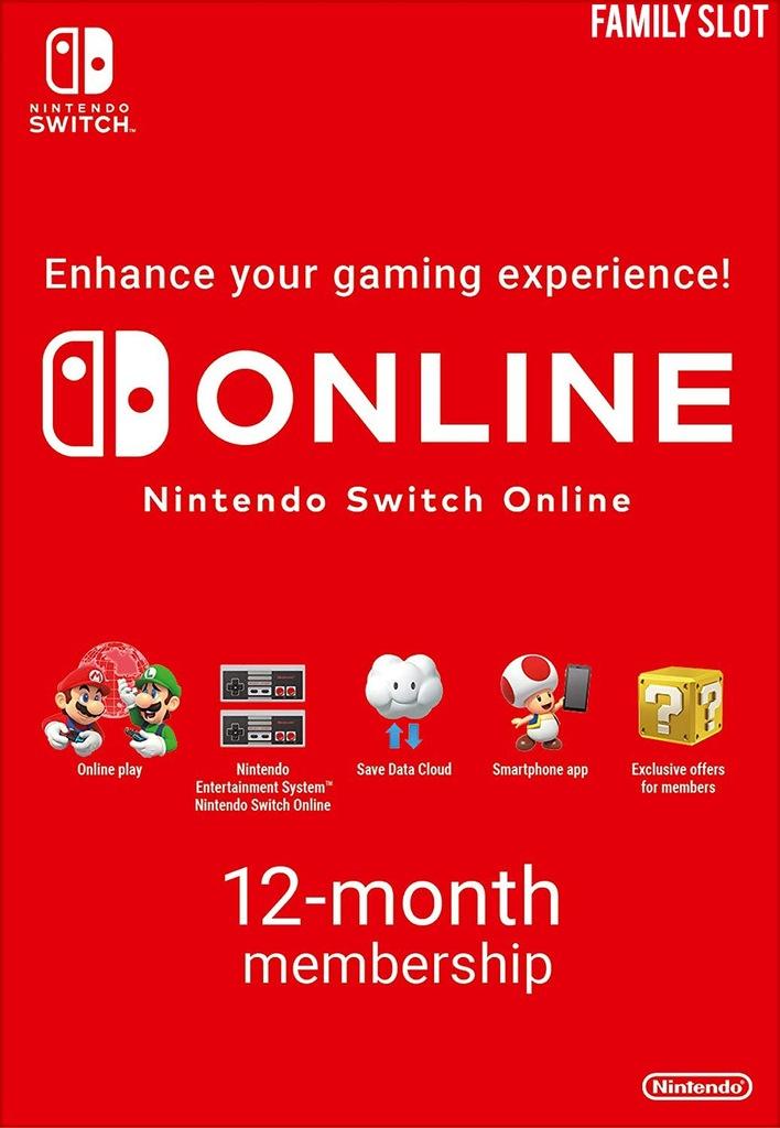 Abonament Nintendo Switch Online   12 MIESIĘCY [X]