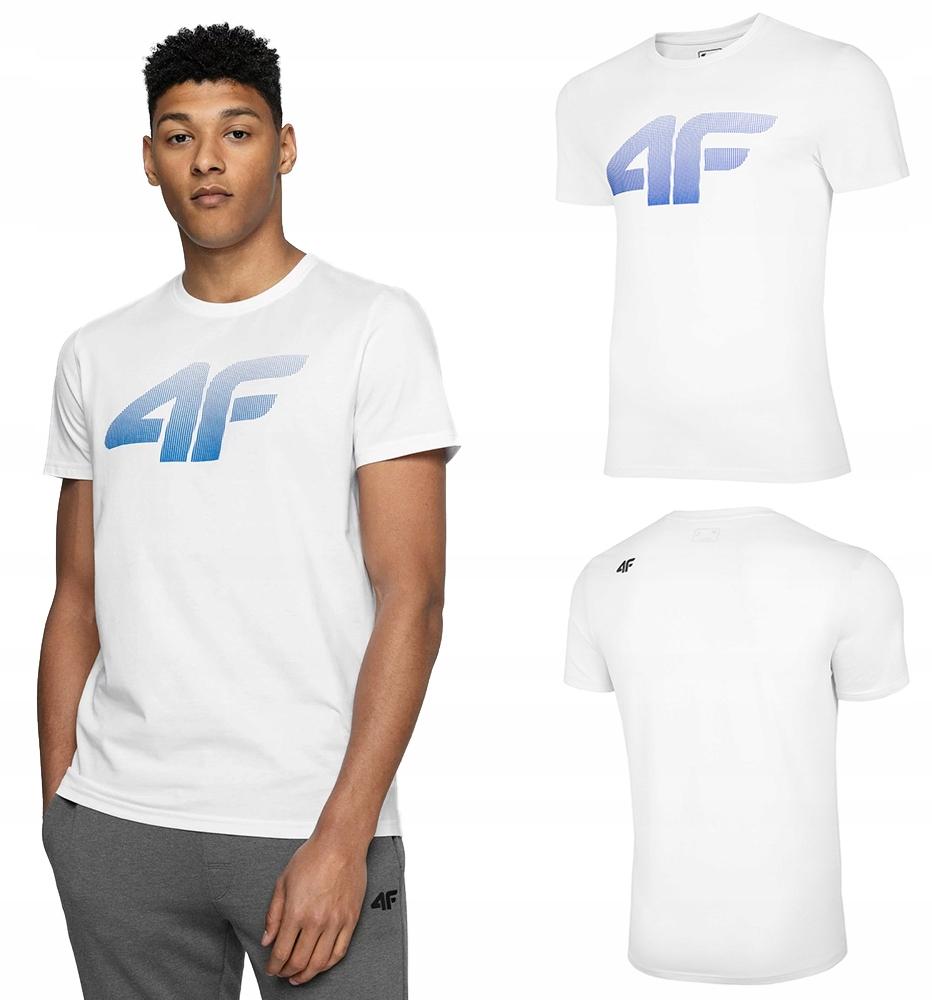 4F T-shirt KOSZULKA Męska TSM004 Bawełna BIAŁA XL