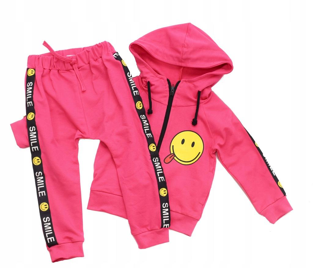 Komplet dres Bluza Spodnie różowy SMILE 116