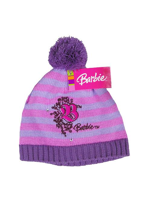 Zimowa Fioletowo Różowa Czapka Barbie z Pomponem