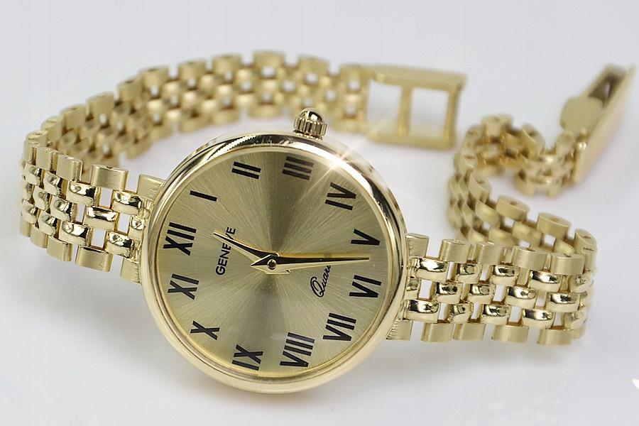 Prześliczny 14k złoty damski zegarek Geneve lw011