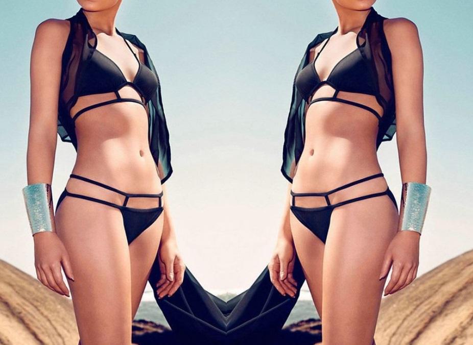 S2 Strój Paski Czarny Bikini Sexy Push UP S/M