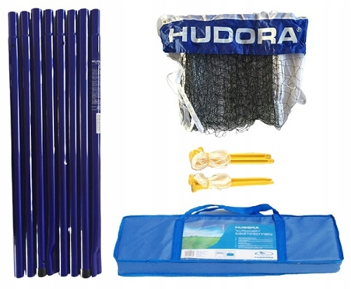 Słupki + siatka + torba Hudora siatkówka badminton