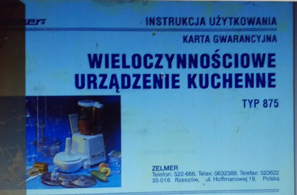 zelmer instrukcja Warszawa w Oficjalnym Archiwum Allegro