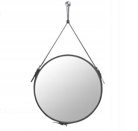 Okrúhle zrkadlo na opasku 60 cm ČIERNE