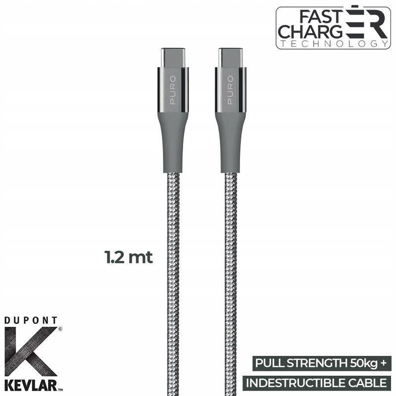 PURO Fabric K2 - Kabel w oplocie heavy duty USB-C