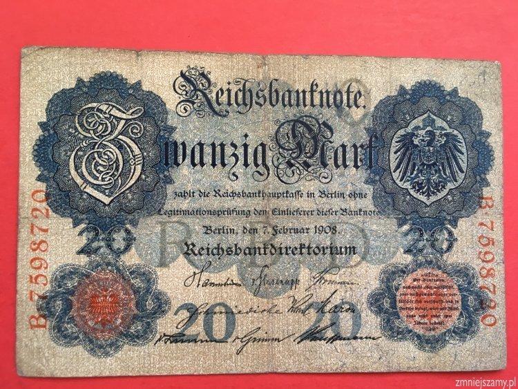 Niemcy 20 marek 1908r. seria B - dla WOŚP