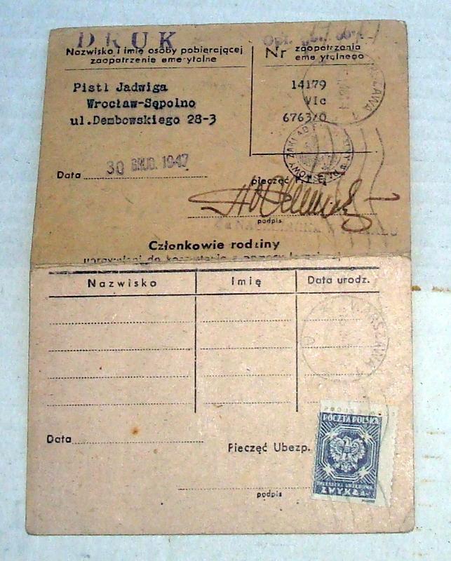 Legitymacja Pomocy Leczniczej Wr. 1947- J.Pistl.