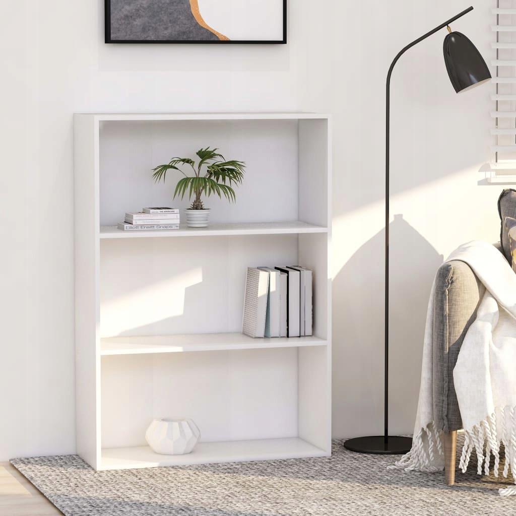 3-poziomowy regał na książki, biały, 80x30x114 cm