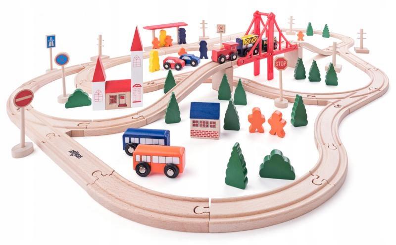Zabawki dla dzieci Kolejka drewniana Zestaw 90el