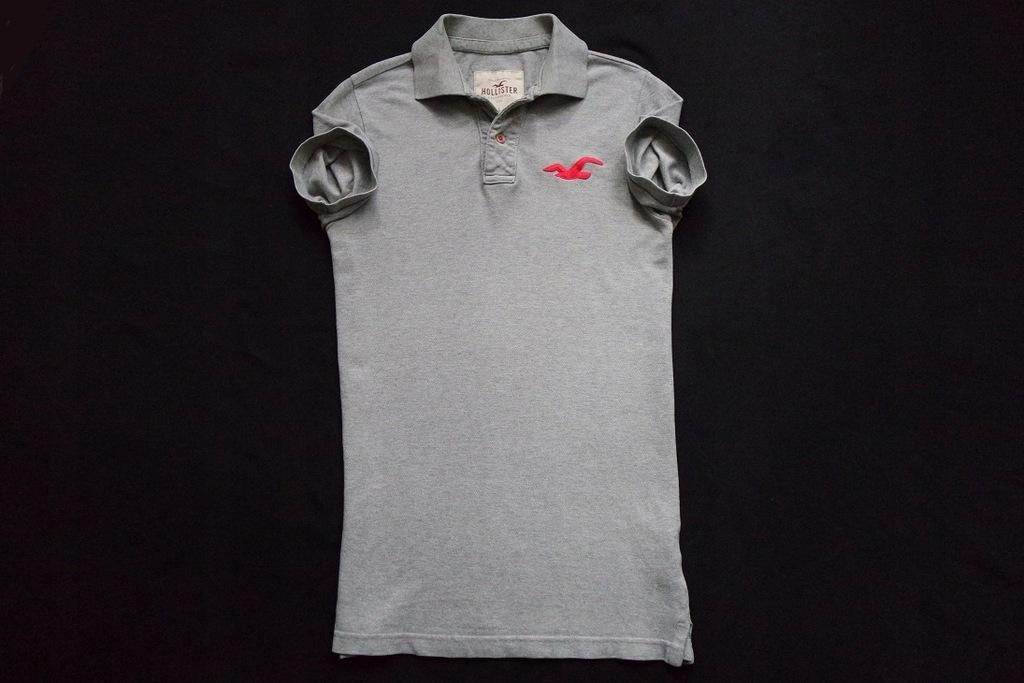 HOLLISTER koszulka polo szara logowana FITCH___S/M