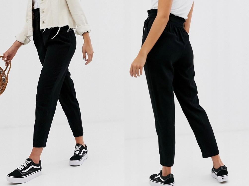 New Look Czarne Spodnie Damskie z Paskiem 42