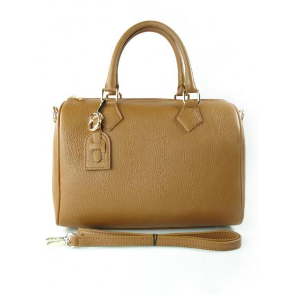 Skórzana torebka Złote okucia Vera Pelle Karmelowy
