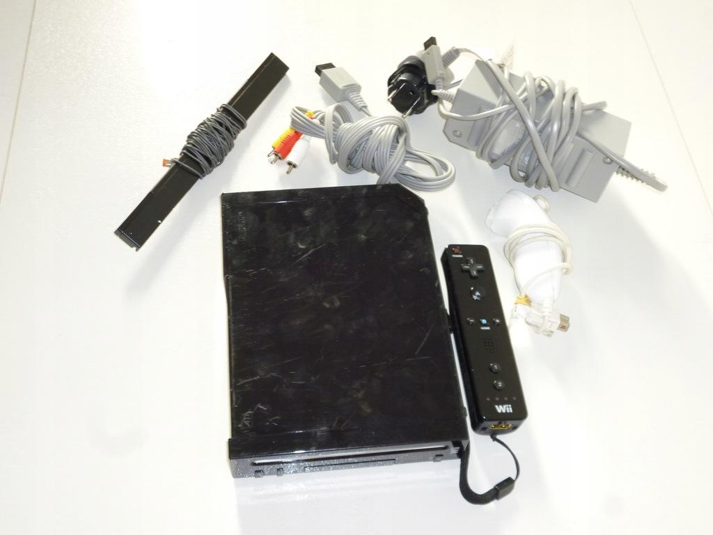 Nintendo Wii czarna konsola, pady, kable tanio