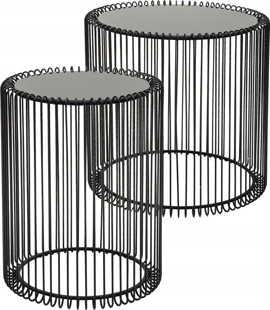 Komplet stolików z metalu ze szklanym blatem Wire