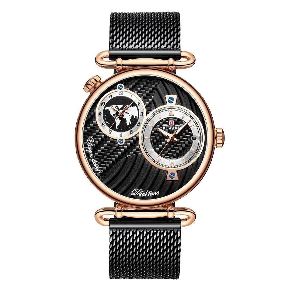Zegarek męski Dwie Strefy Czasowe REWARD Czarny