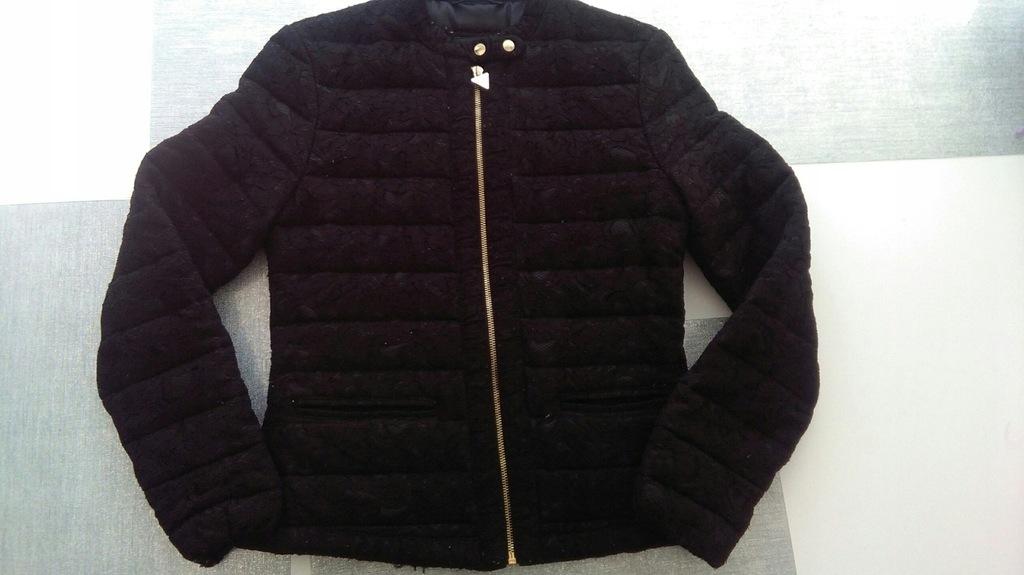 GUESS czarna cienka pikowana kurtka koronka 34 XS
