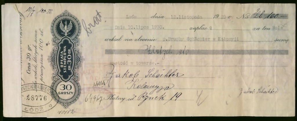 Weksel opł. stem 30 gr 100 zł Lwów 1929 - PROTEST