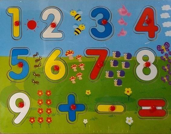Układanka puzzle drewniane dopasuj kształty liczby