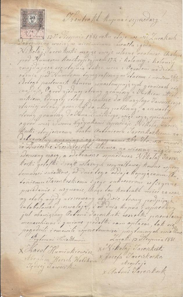 KONTRAKT KUPNA SPRZEDAŻY ŻURAKI KRESY 1881