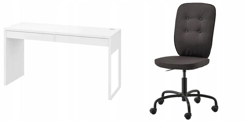 IKEA MICKE biurko + LILLHOJDEN Krzesełko czarne
