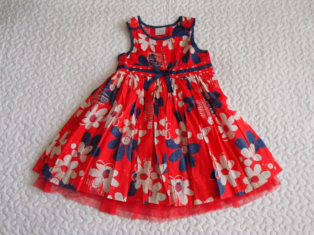 Next sukienka czerwona i kwiaty roz 104