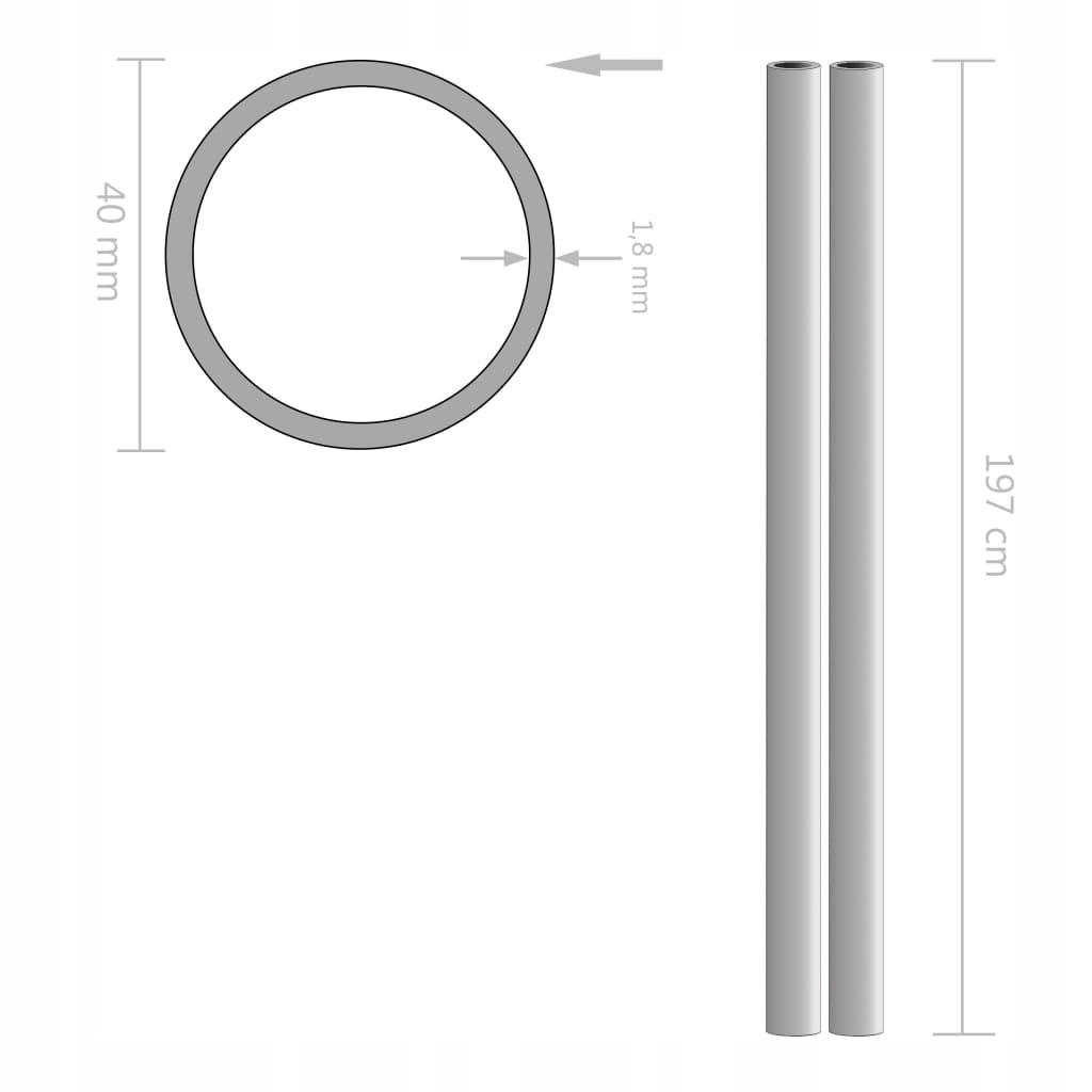 Rury ze stali nierdzewnej, 2 szt., okrągłe, V2A, 2
