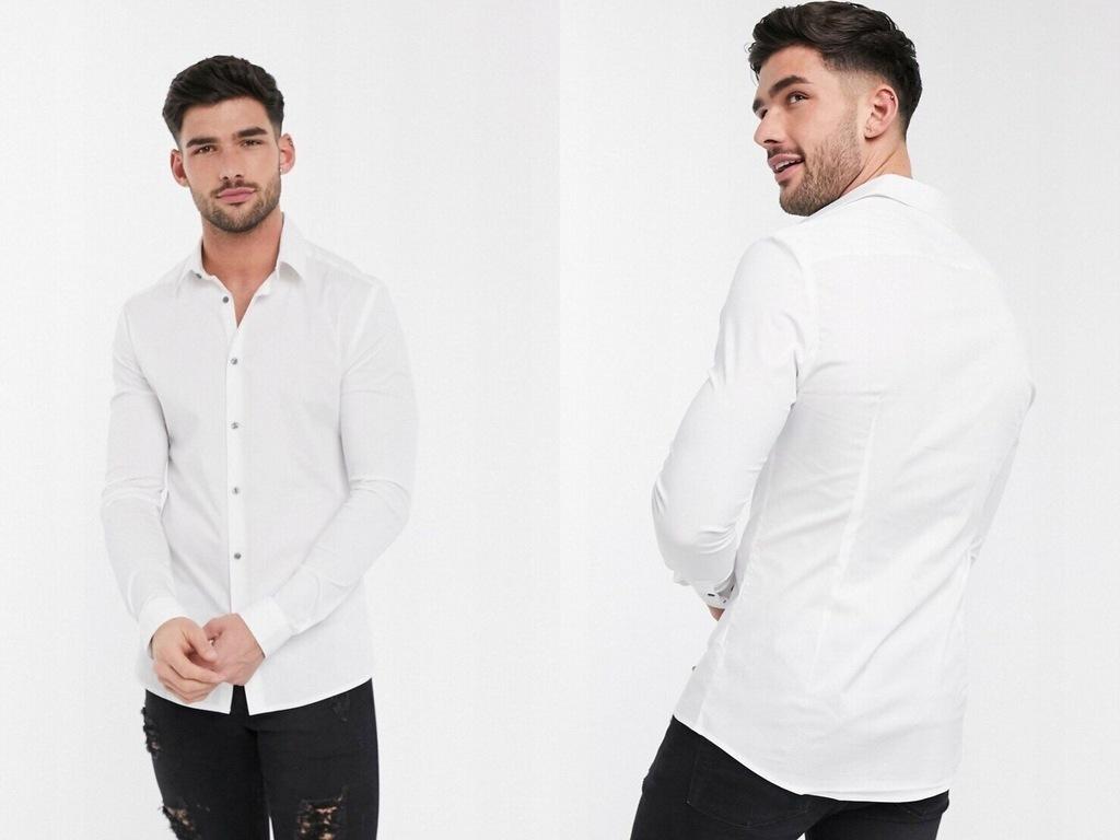 River Island Biała koszula popelinowa slim XL