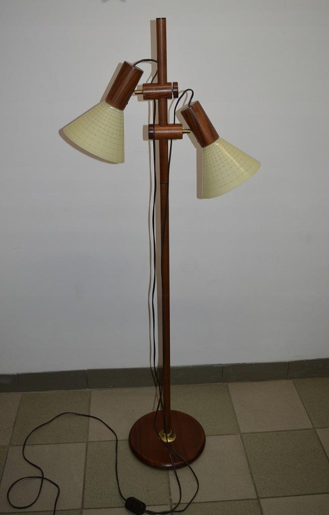 DUŃSKA TEAKOWA REGULOWANA LAMPA W SUPER STANIE