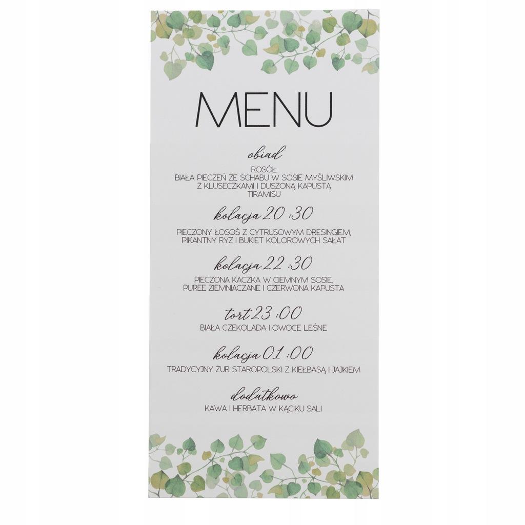 Menu ślubne weselne karta dań botaniczne rustyka