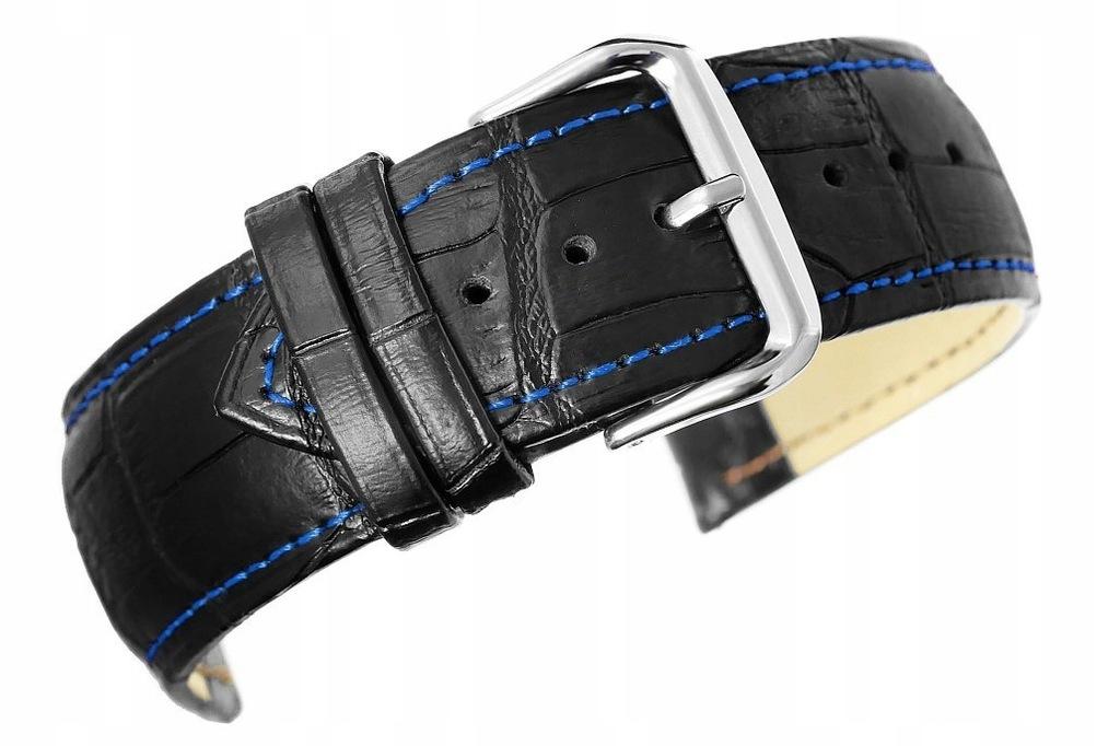 Pasek do zegarka - Skóra naturalna 24 mm - Czarny