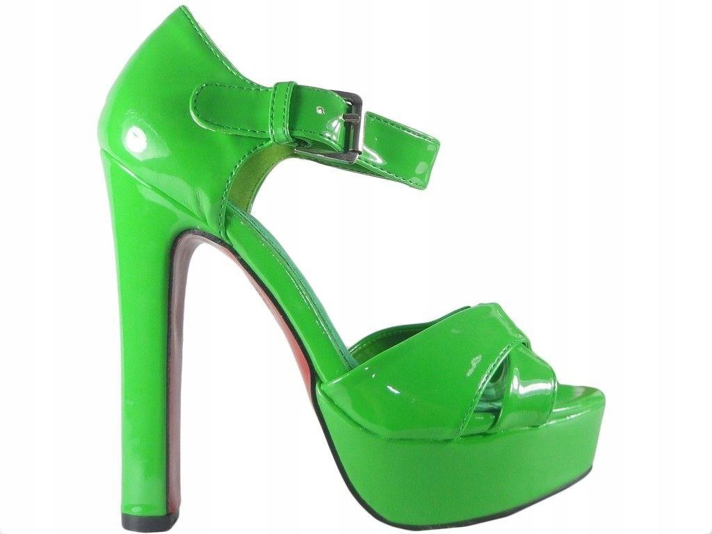 Zielone sandały na słupku buty z paskiem kostce 35