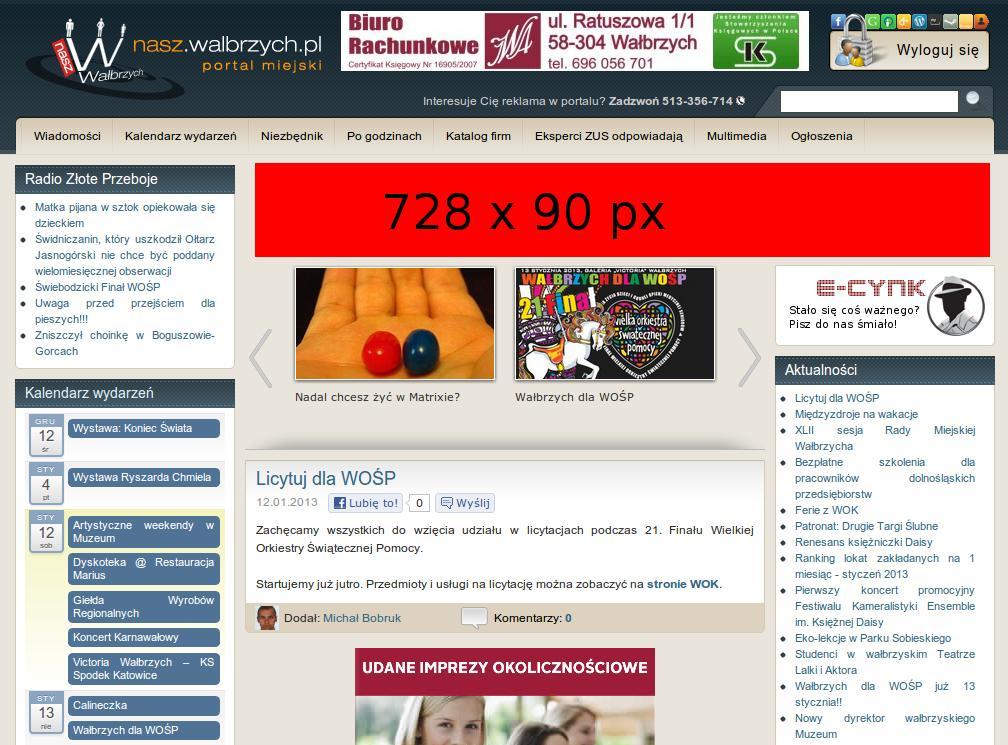 Reklama w serwisie Nasz Wałbrzych: baner + artykuł
