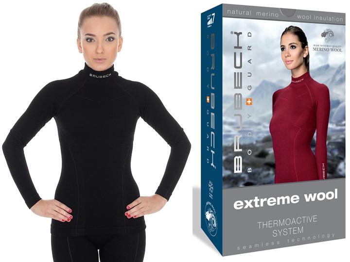 BRUBECK Bluza na narty Extreme Wool LS11930 XL Bla
