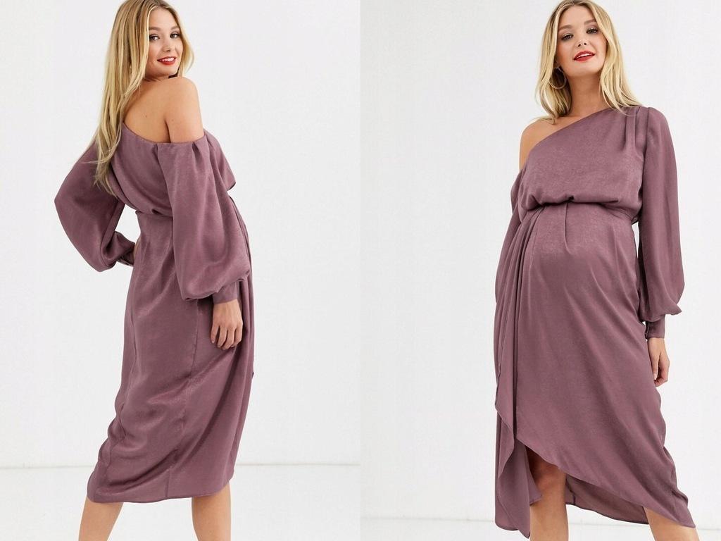 DESIGN Fioletowa satynowa sukienka ciążowa midi S