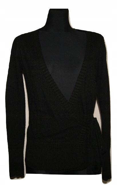 Sweter czarny w pasie wiązany M