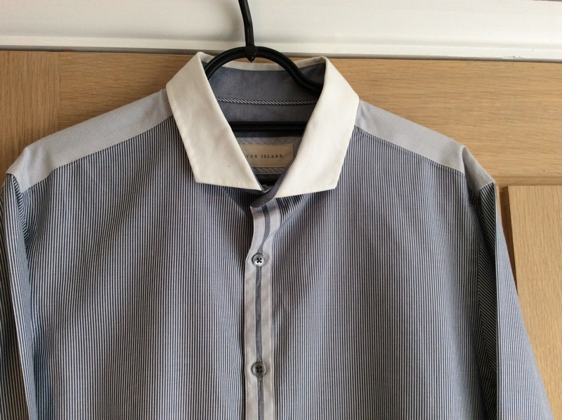 RIVER ISLAND koszula szara kratka nadruk modna___M
