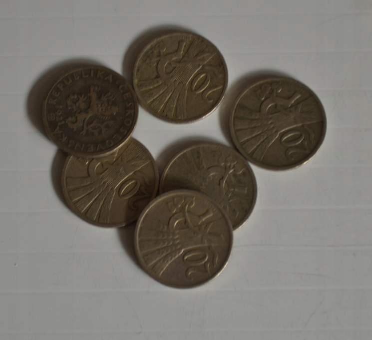 Stara Czechosłowacja 20 Halerzy 1921 rok - 6 monet