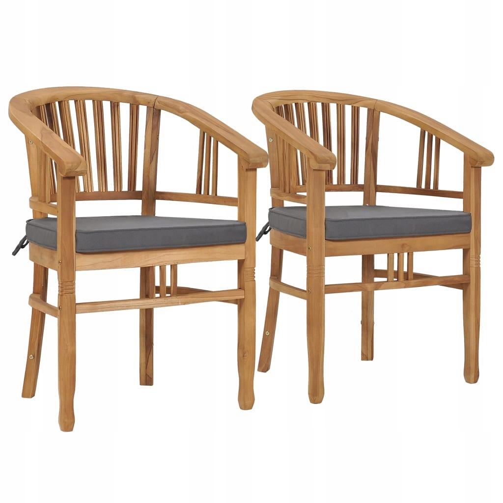 Krzesła ogrodowe z poduszkami, 2 szt., lite drewno