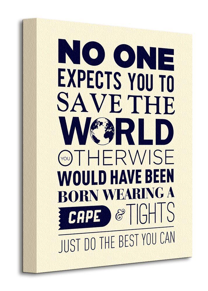 Napis Save The World Obraz na płótnie 30x40 cm