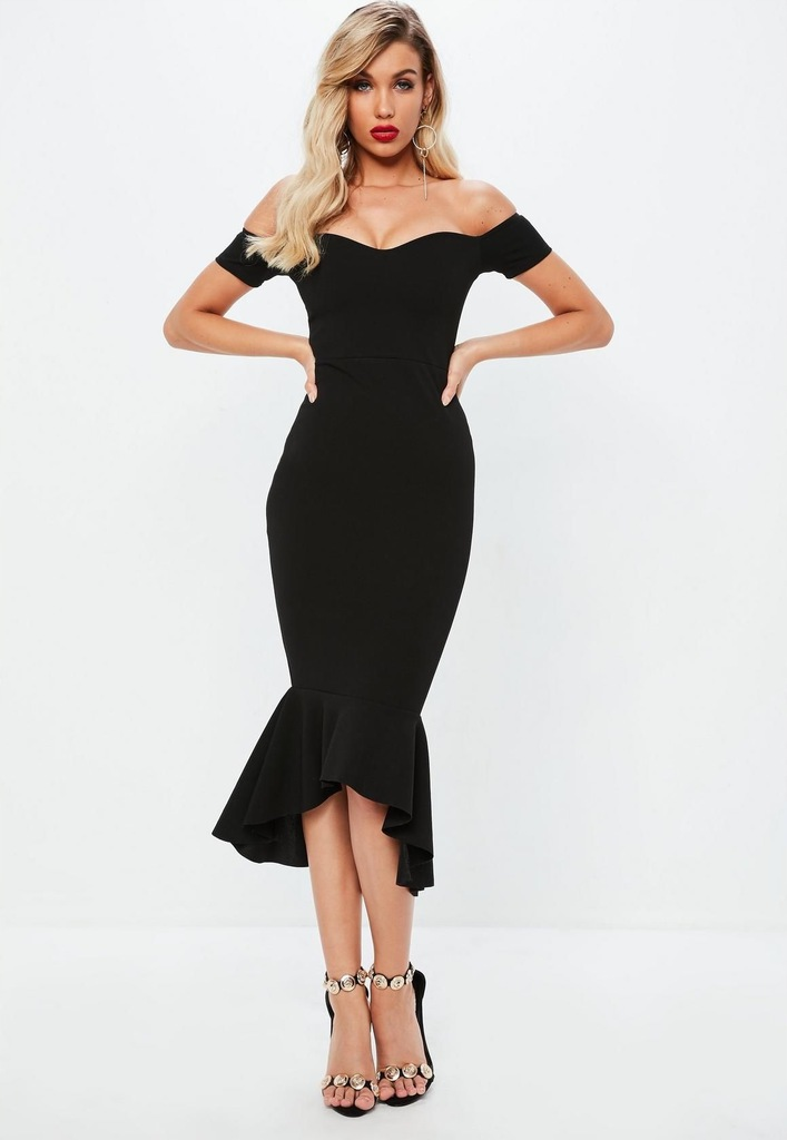 MISSGUIDED Czarna sukienka midi syrena (36)