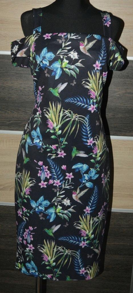 3* Sukienka F&F kwiaty odkryte ramiona 42
