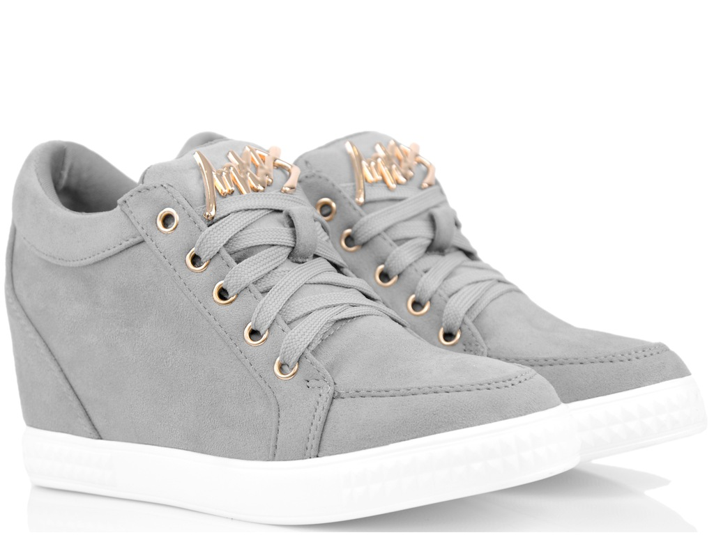 Krótkie Sneakersy Szare Trampki na Koturnie 39