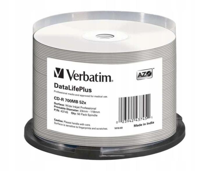 Verbatim DataLifePlus CD-R 700MB 52x 50SZT NADRUK