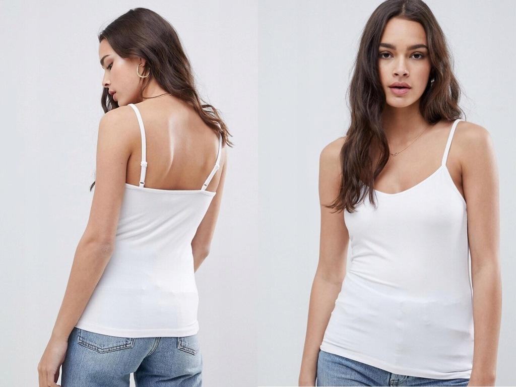 Biała elastyczna koszulka top na ramiączkach L40
