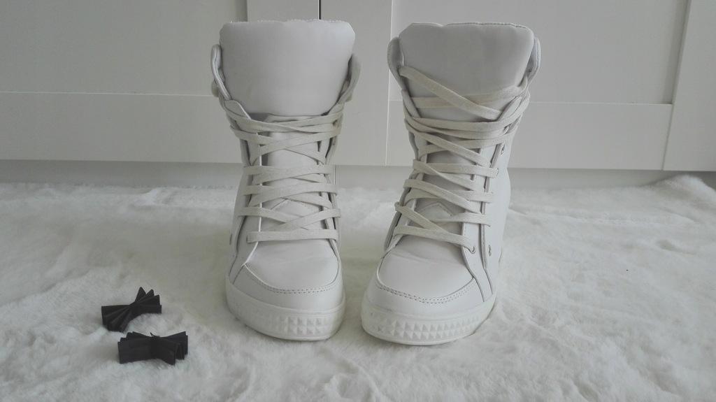 VICES | Wysokie Białe Damskie Sneakersy Poppy