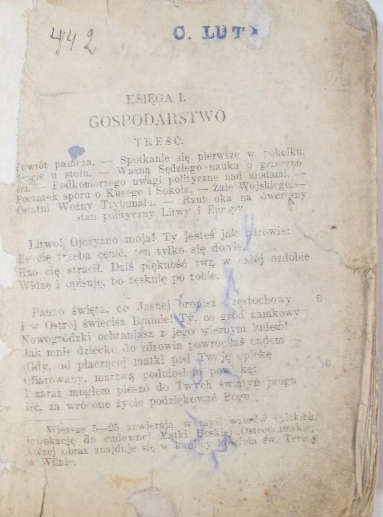 Adam Mickiewicz Pan Tadeusz 1925 R 7101846899